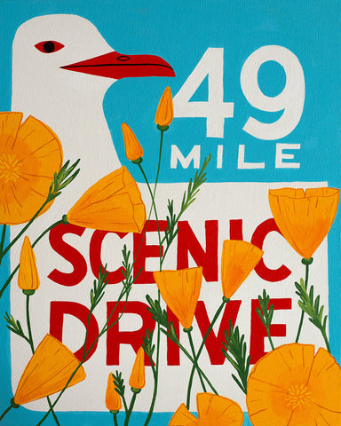 49 Mile Red Beak Poppy Print