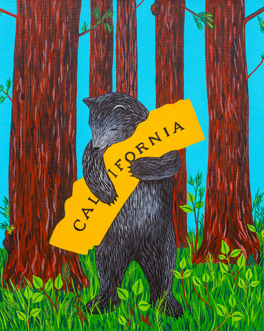 """I Love You California"" Redwood Print"
