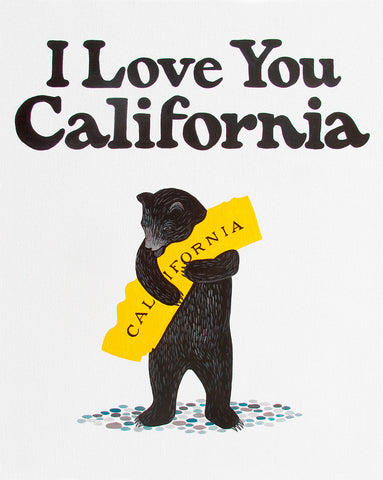 """I Love You California"" White Bear Print"