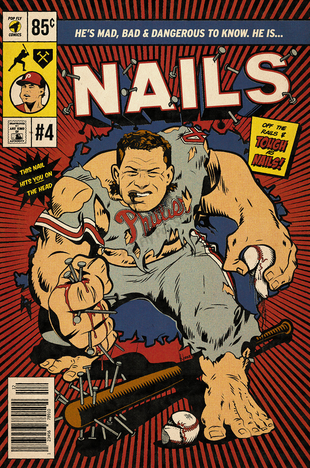 "03. (SOLD OUT) ""Nails"" Lenny Dykstra 7"" x 10.5"" Art Print"