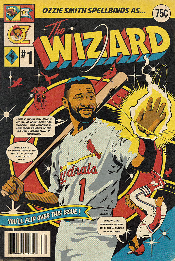 "09. (SOLD OUT) ""The Wizard"" Ozzie Smith 7"" x 10.5"" Art Print"