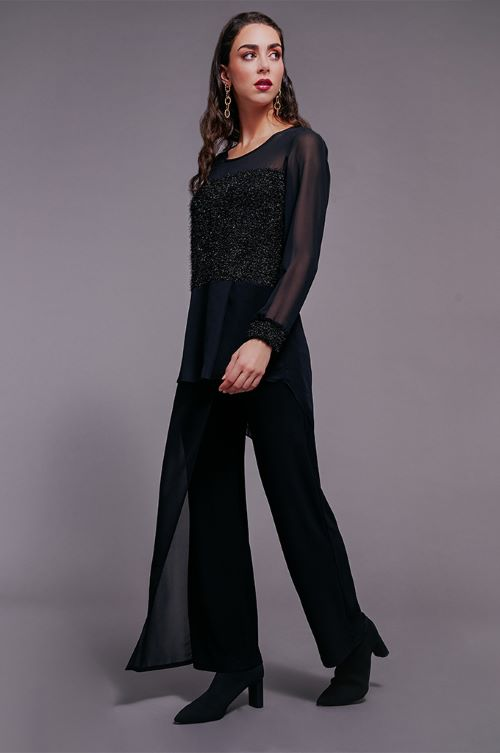 Black Pull on Pants with Chiffon Overlay