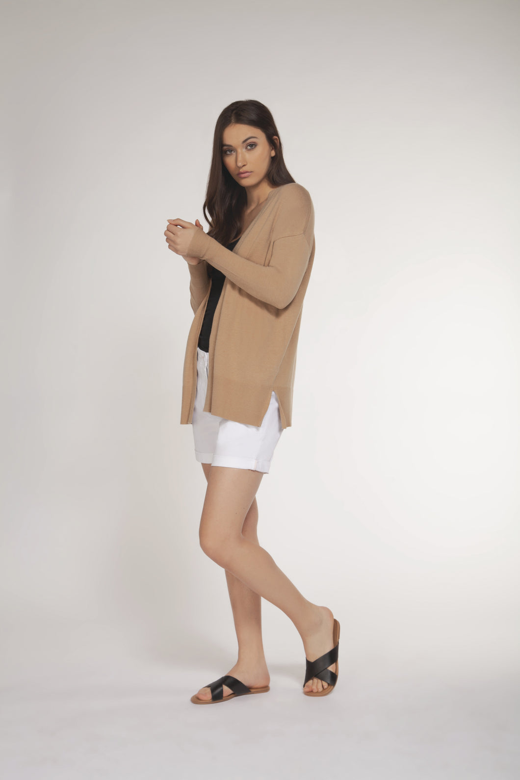 Tan Long Light Weight Open Cardigan