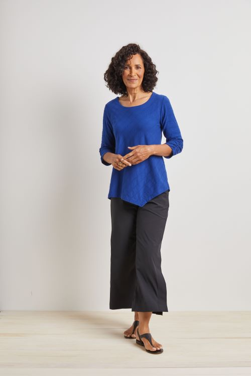 Habitat - Indigo 3/4 Sleeve Round Neck Tuck Pleated Tunic
