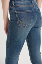 Load image into Gallery viewer, Blue Jeans with Embroidered Flowers & Embellishments