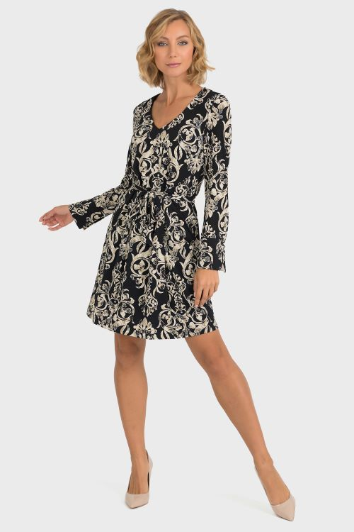Long Sleeve V-Neck Black with Print Dress