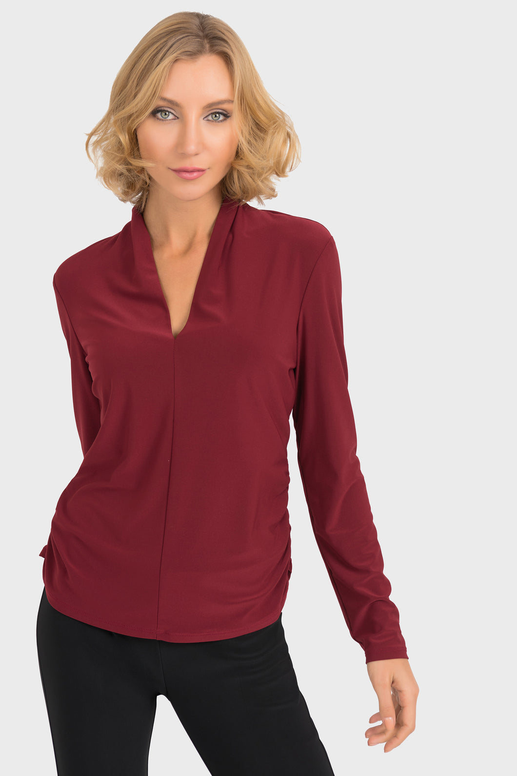 Long Sleeve V-Neck top with Rusched Sides