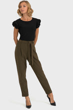 Load image into Gallery viewer, Safari Green Dress Pants with tie belt and cuff