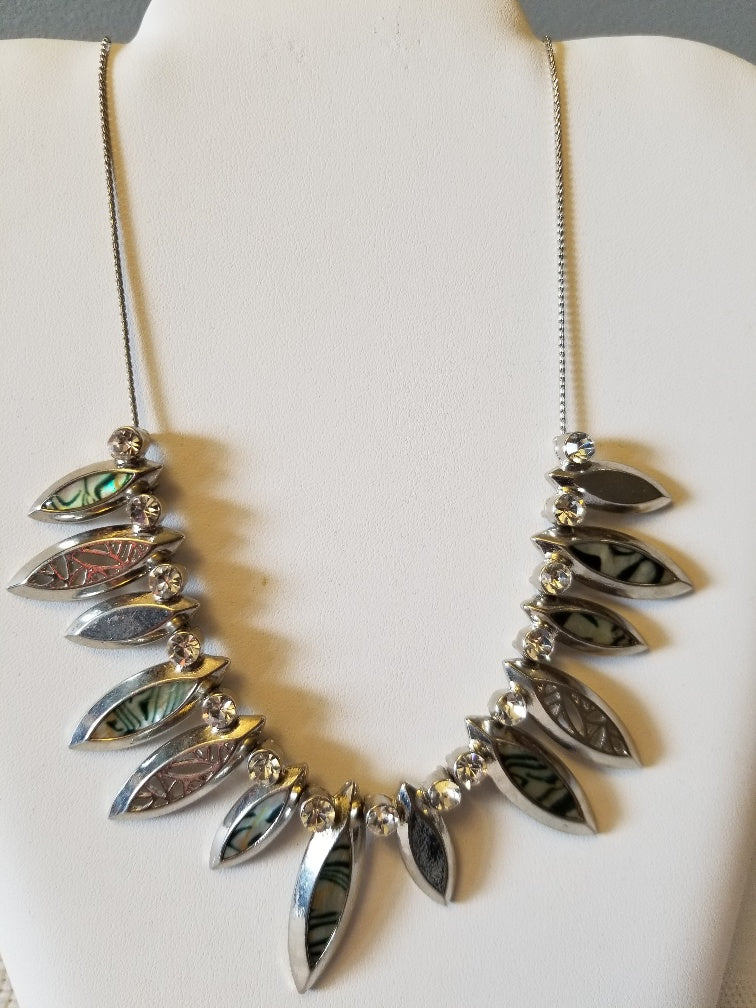 Silver & Green Necklace with Jewels