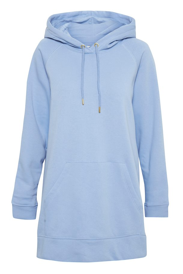 Vista Blue Tunic Length Hooded Sweatshirt with Front Pocket