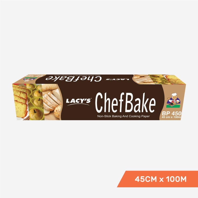 Lacy's ChefBake Non Stick Baking/Cooking Paper, Siliconised, 45cm x 100m, Roll