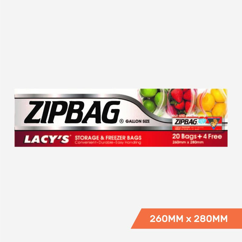 Lacy's ZipBag - Resealable Storage and Freezer Bags, Gallon Size, 260mm x 280mm, 20+4 bags