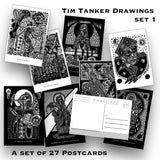 Tim Tanker - Postcard set - 27 post cards - Drawings - Artworks - punk rock prints - Protest Art