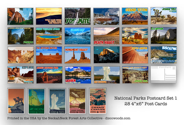 National Parks Postcard Set - Set of 28 National Park Postcards - Travel - Adventure - Natural Wonders - Scrapbooking -collage - Post Cards