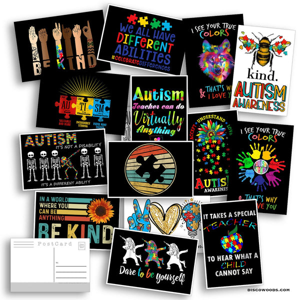 Autism Awareness Set - Set of 20 Postcards - Autism - Teacher Gifts - Scrapbooking Post Cards - Autism Awareness Month