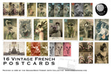Vintage French Postcard Set - Set of 16 Postcards - Vintage - french - Scrapbooking Post Cards - Historical - Victorian - Neo Victorian
