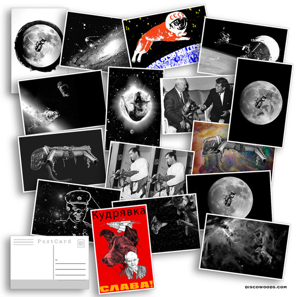 Space Dog Postcard Set - Set of 20 Postcards - Laika the First Dog in Space - Adventure - Scrapbooking Post Cards - Space Dog