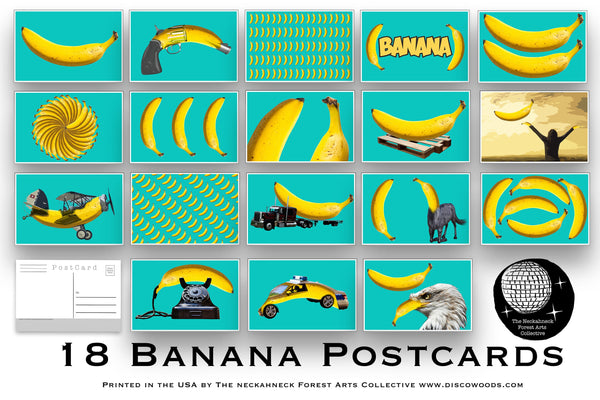18 Bright Beautiful Banana Postcards great for Scrapbooking, mailing as Post Cards or collage kits