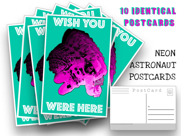 Neon Astronaut Postcards -10 postcard set - Thinking of You - Space - Astronaut Post Card note for mailing collage or scrapbook