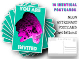 Neon Astronaut Invitation Postcards - 10 post card set - Great invitations - Space - Astronaut Post Card for mailing collage or scrapbook