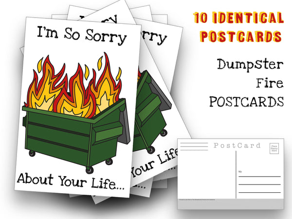 Dumpster Fire Postcards - A funny yet apologetic set of 10 I'm sorry Post Cards  for mailing collage or scrapbook