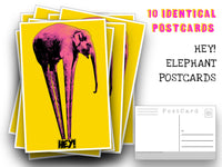 Elephant Postcards - A set of 10 pop elephant Post Cards just to say hey - for mailing collage or scrapbook