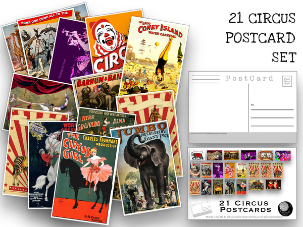 Circus Postcard set - 21 postcards featuring circus poster art, animals and clowns - gift set - scrapbooking - collage kit