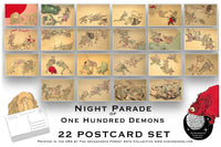 Night Parade of 100 Demons Postcard Set - Set of 22 Postcards - Kawanabe Kyōsai - Sci fi - Scrapbooking Post Cards - Monsters - Japanese Art