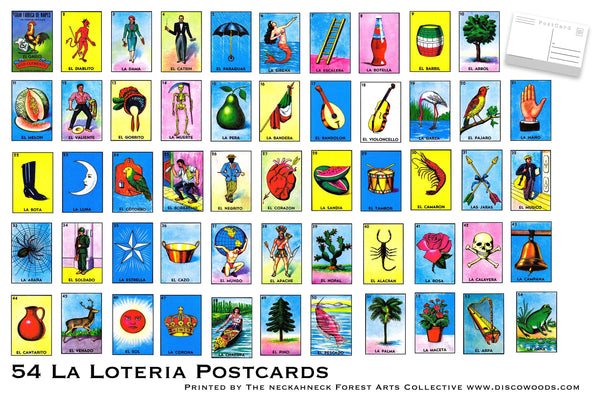 La Loteria Postcard Set - Set of 54 bright high quality Postcards