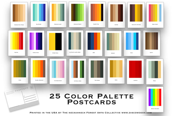 25 Postcard Set - Poetic Color Palettes - Inspiration for artists great minimal post cards for Scrapbooking Postcards or collage kits