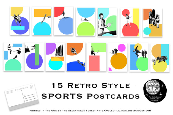 Set of 15 Retro Sports Postcards great for Scrapbooking, mailing as Post Cards or collage kits