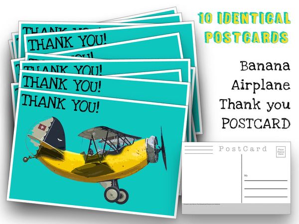 Banana Airplane Thank You Postcards - 10 post card set - Surrealist pop art thank you cards for any occasion - mailing, collage or scrapbook