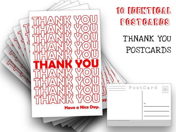Thank You Postcards - A set of 10 Thank You, Have A Nice Day Post Cards - for mailing collage or scrapbook