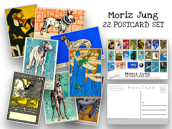 Moriz Jung Postcard Set - Set of 22 Artist Postcards - Fine Art - Dogs - Scrapbooking Post Cards - Vintage illustration postcards