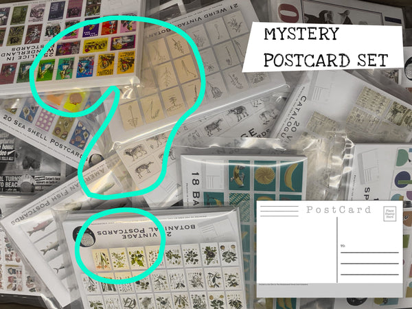 MYSTERY Postcard Set - A mystery pack of postcards from our shop - even we won't know what you get! free domestic shipping