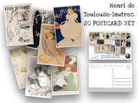 Toulouse-Lautrec Postcard Set - Set of 20 Artist Postcards - Scrapbooking Post Cards - Henri Marie Raymond de Toulouse-Lautrec