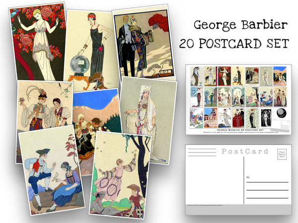 French Fashion Illustration Postcard Set - Set of 20 George Barbier Postcards - Scrapbooking Post Cards - Artist - art nouveau - home decor