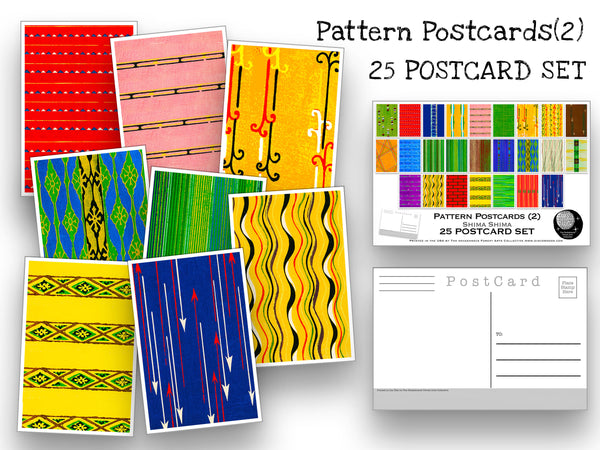 Pattern Postcard Set (2) - Set of 25 Artist Postcards - Shima Shima - Art Deco art -Scrapbooking - Vintage - wall art