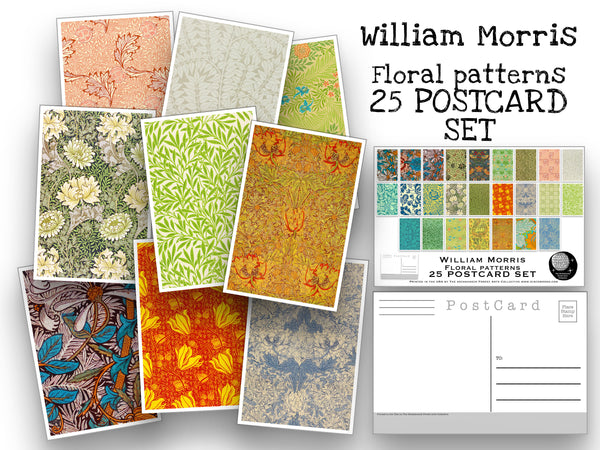 Floral Pattern Postcard Set - Set of 25 Artist Postcards - William Morris pattern art - flower prints -Scrapbooking - Vintage - art deco