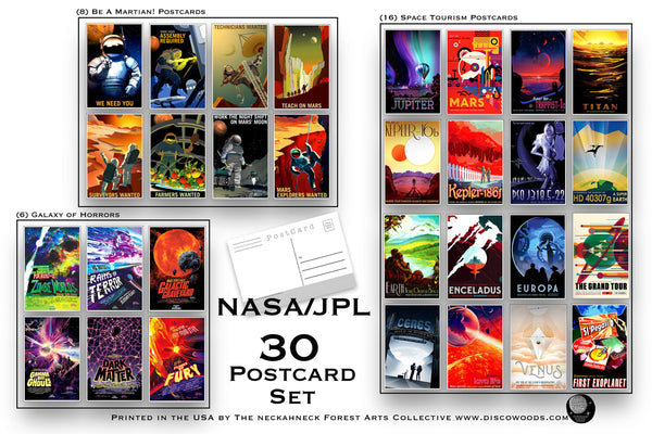 Space Explorer Postcard Set - Set of 30 Postcards - Outer Space Post Cards - NASA - Space Tourism - JPL - Galaxy of Horrors