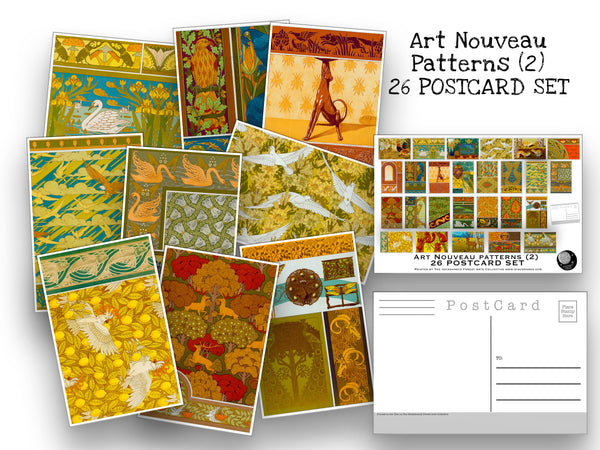 26 Art Nouveau Design Postcards Set (2) - Set of 25 Artist Post cards - Patterns - Maurice Verneuil - Scrapbooking - Vintage Design Postcard