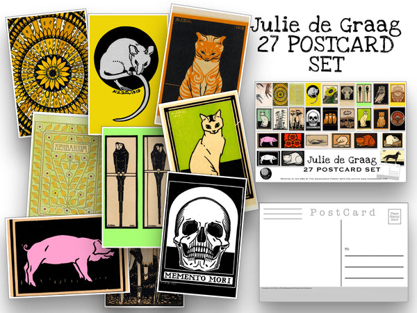 Julie de Graag Postcard Set - Set of 27 Postcards from Dutch artist  - Scrapbooking Post Cards - Artist - animal postcards - home decor