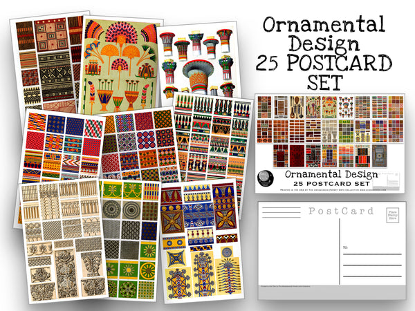 Ornimental Design Postcard Set - Set of 25 Artist Postcards - Ornamental patterns - Grammar of Ornament -Scrapbooking - Vintage - art deco