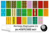 Pattern Postcard Set (1) - Set of 25 Artist Postcards - Shima Shima - Art Deco art -Scrapbooking - Vintage - wall art