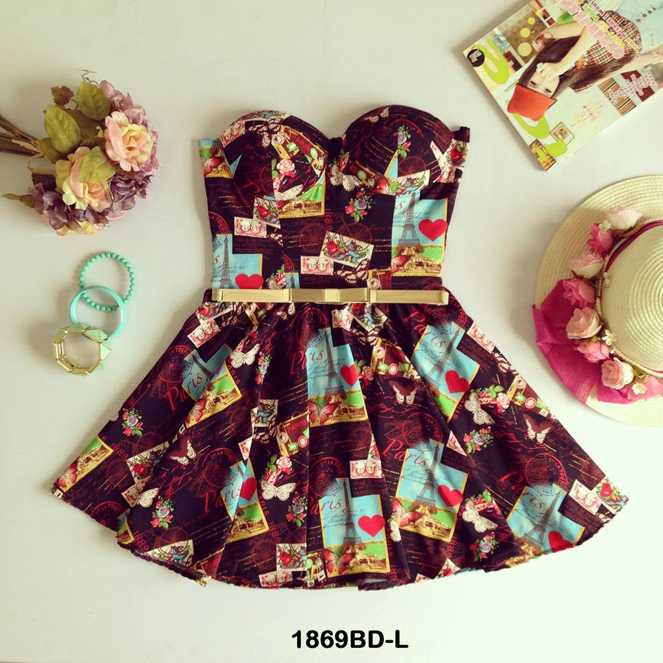 Pattern Bustier Dress