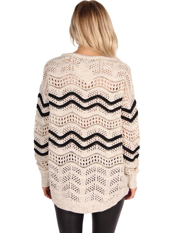 Beige Netted Cardigan