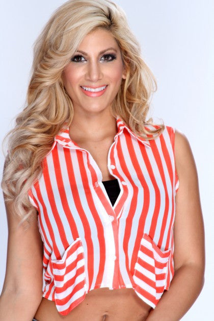 White Stripe Print Top