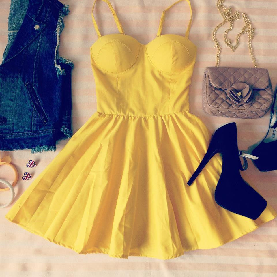 Yellow Bustier Dress