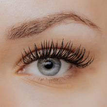 Load image into Gallery viewer, Eyelash Extension Safe Makeup, Volume Touch Mascara applied to lashes, closeup