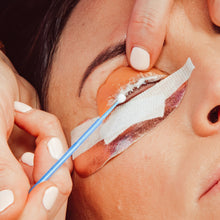 Load image into Gallery viewer, Applying Step 2 Neutralizing lotion to a prepared eyelash line